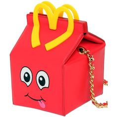 MOSCHINO Happy Meal Leather Shoulder Bag ($551) ❤ liked on Polyvore featuring bags, handbags, shoulder bags, red leather shoulder bag, red shoulder bag, genuine leather handbags, leather purse and real leather handbags