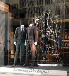 Ermenegildo Zegna window display, New York visual merchandising Visual Display, Display Design, Store Design, Shop Window Displays, Store Displays, Display Window, Retail Displays, Visual Merchandising, Boutiques