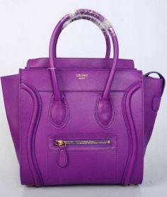 Celine Luggage Handbag Purple 26CM