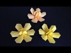 Origami Daffodil(Narcissus) flower 3D  instructions 折り紙 水仙の花 立体 折り方 - YouTube