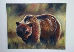 """Grizzly"" by Ra'Chel Alexander Acrylic on canvas, 30x24 www.facebook.com/artworkbyrachel www.etsy.com/shop/RaChelStudios"