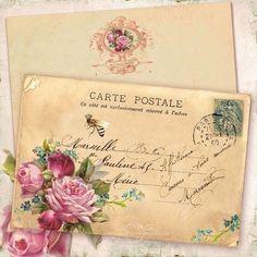 French Bee Gift Tags, Pink Roses, Forget me nots, Carte Postale, Vintage Postcard Rotulação Vintage, Images Vintage, Vintage Labels, Vintage Ephemera, Vintage Cards, Vintage Paper, Vintage Postcards, Vintage Prints, Vintage Pictures