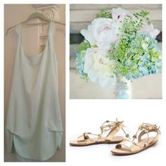 Mint and gold wedding party ideas: Dahl NYC Petal dress with gold LR sandals and a bouquet of hydrangea + peony.