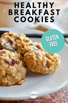Healthy Gluten Free Breakfast Cookies are loaded with good for you ingredients and made in 1 bowl! Easily adapted to be vegan too! High altitude adjustments included. #thefreshcooky #glutenfreecookies #healthyglutenfreecookies