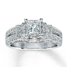 OMG! I fell in love with this ring! Its perfect in every way possible! :)   Diamond Engagement Ring 1 3/8 ct tw Princess-cut 14K White Gold  Kay Jeweler's, every kiss begins with K!