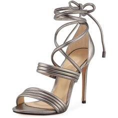 Alexandre Birman Isis Metallic Ankle-Wrap Sandal ($695) ❤ liked on Polyvore featuring shoes, sandals, grey, shoes sandals, leather strap sandals, metallic sandals, leather sandals, ankle tie sandals and metallic strappy sandals