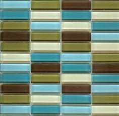 mini tiles in blues, green and Brown