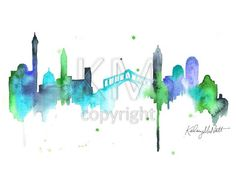 Italian artwork - Original Watercolor Painting, Venice Italy Skyline, Turquoise and green home decor and wall art