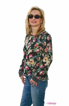 Sweatshirts - Wende- Pullover, Blumen, grau - ein Designerstück von UL-GlamCity bei DaWanda