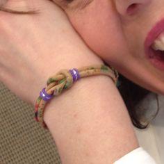 Vegan bracelet in flower print Portuguese cork. Perfect spring Celtic knot bracelet.
