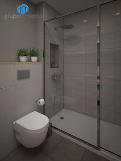 La #reforma de baño contará con un #inodoro suspendido y una amplia #ducha protegida con una mampara. #Barcelona #3D #interiorismo