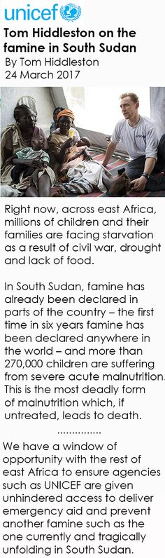 Tom Hiddleston on the famine in South Sudan. By Tom Hiddleston. Link: https://blogs.unicef.org/blog/south/