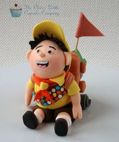 """Russell From Disney's """"up"""" Fondant Figure This was made for a customer making her own """"Up"""" themed cake. Cake Topper Tutorial, Fondant Tutorial, Cupcakes, Cupcake Cakes, Fondant Figures, Clay Figures, Disney Up Cake, Russel Up, Biscuit"""