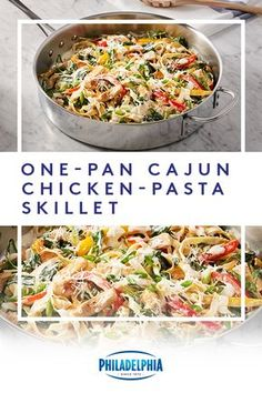 Simple and savory – that's what this One-Pan Cajun Chicken-Pasta Skillet is all about. Toss in chicken, peppers, baby spinach, and Philly for the ultimate easy meal. #ItMustBeThePhilly