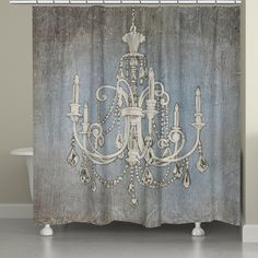 Add some high glam to your decor with the 'Chandelier Lights Shower Curtain' by Laural Home featuring an ornate crystal chandelier on a bluish-gray distressed background. This shower curtain is digita