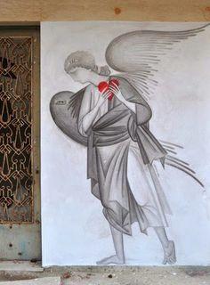 Street art in Athens, Greece, by Greek street artist Fikos Street Art Love, Street Art Graffiti, Installation Street Art, Greek Art, Sacred Art, Street Artists, Conceptual Art, Public Art, Portrait