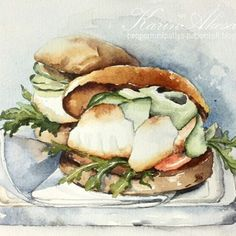 Day 6 #worldwatercolormonth : dinner (fishburger)
