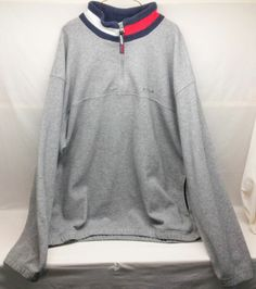 Vintage Tommy Hilfiger 1/4 Zip Mock Neck Pocketed Fleece FREE PRIORITY SHIPPING