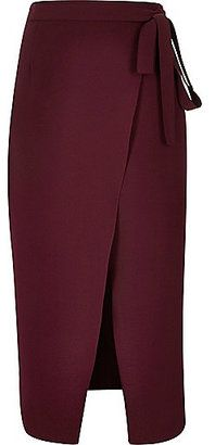 River Island Womens Dark red wrap split front midi skirt