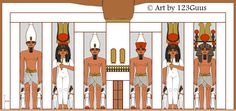 Reconstruction of the Temple of Nefertari/Het-Heru (Hathor) at Abu Simbel. This Temple was dedicated by Ramses II to his wife the Great Royal Queen Nefertari, a direct descendant of the Great High Priestess of the Het-Heru, Nefertari Merymut (Ahmose). The statues represent the pharaoh and his wife and are 10/12 m high. (and were painted much darker than the picture).
