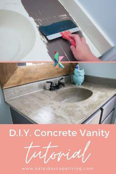 Refinish Bathroom Vanity, Concrete Sink Bathroom, Small Bathroom Sinks, Bathroom Vanity Makeover, Vanity Sink, Bath Vanities, Bathrooms, Budget Bathroom Makeovers, Budget Bathroom Remodel