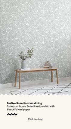 Forget about the old-fashioned green and red colour palette this festive season and instead opt for simple, stylish decor inspired by the Scandinavian interior design ethos. We have created a collecti Scandi Wallpaper, Scandinavian Wallpaper, Dining Room Wallpaper, Scandinavian Folk Art, Scandinavian Interior Design, Scandinavian Christmas, Of Wallpaper, Pattern Wallpaper, Christmas Decor