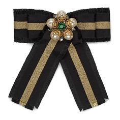 GUCCI Web Grosgrain Bow Brooch, Black, Gold