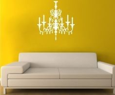 love the chandelier wall decal, but i would probably put it next to my 'kitchen table' (aka collapsible card table)