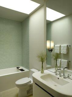 Small Bath With Skylight Calming Colours Skylight