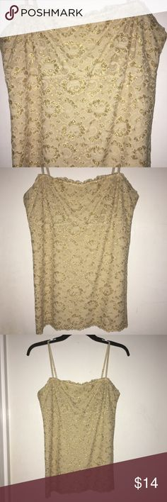 New NEW YORK & Co Gold Lace Cami Top Career Blouse Beautiful New York & Company Intimates Camisole! Golden Lace over a soft Spandex material. Juniors Size Medium. In Excellent Like New Condition, Except there is a small hole inside the built in bra area (see last photo). Let me know if you need Measurements. Please make sure this will fit before purchasing! 🌹 Don't forget to look at my other items! 💕Bundle & $ave💕 If over 5 lbs, Extra Shipping Fees Apply. I can let you know your Bundle…