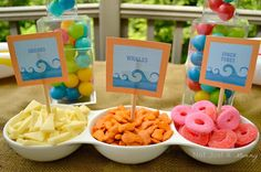 A Day At The Beach playdate party table snacks