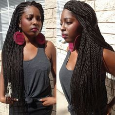 Ghana weaving with Senegalese twists @braidsbyguvia - http://www.blackhairinformation.com/community/hairstyle-gallery/braids-twists/ghana-weaving-senegalese-twists-braidsbyguvia/ #twists #protectivestyling
