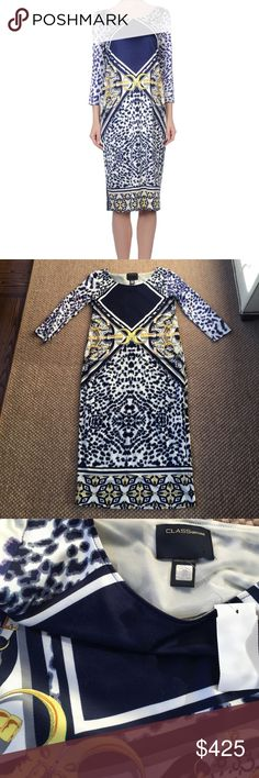 "CLASS By Roberto Cavalli Silk Dress STUNNING! CLASS by Roberto Cavalli Silk Dress- NWT Navy/ white leopard print, geometric designs and golden detail pattern with 3 buttons on back. 94% heavy weight silk with 6% elastane for stretch. Three-quarter sleeves, rounded neckline, below-the-knee hemline and fully lined. Absolutely gorgeous! Orig Retail Price: $720 + tax dress size IT 38, US 4 100% authentic made in Italy. Measurements lying flat w/out stretching: bust 16.5"" waist 15.5"" hips 37""…"