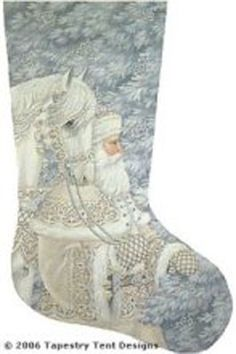 Enchanted Santa Needlepoint Stocking