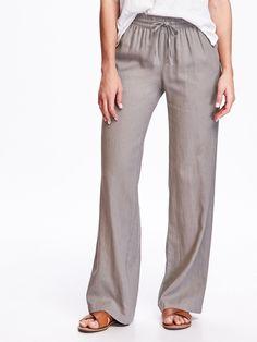 Mid-Rise Linen-Blend Wide-Leg Pants for Women   Old Navy