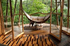 Wow, check out this hammock area of a bamboo house hand-constructed in Bali. Love the natural looking Bali theme. House Bali, Bamboo Building, Bahay Kubo, Bamboo Architecture, Sustainable Architecture, Bamboo Tree, Outdoor Living, Outdoor Decor, My Dream Home