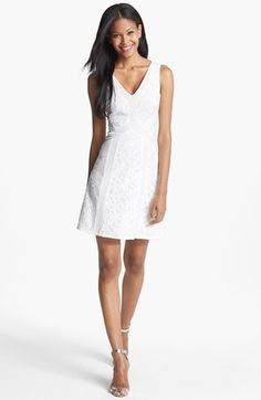 Delicate insets chart contemporary angles down a stark lace dress cut for a sweetly feminine silhouette. Color(s): off white combo. Brand: BCBG MAX AZRIA. Style Name: BCBGMAXAZRIA 'Gracie' Lace Cotton Fit & Flare Dress. Style Number: 914448.