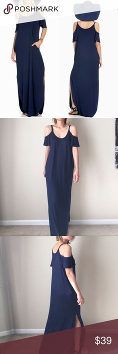 """Trendy summer maxi dress Trendy and best seller summer dress. Full length , split on the side with pockets. Made with soft knot non sheer fabric. Length 56"""". Easy fit. 95% rayon 5% spandex . Made in USA. Also comes in black and gray . Limited Dresses Maxi"""