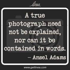 """""""A true photograph need not be explained..."""" ~Ansel Adams -- Click through for more photography quotes you should know.:"""