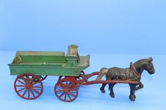 Cast Iron, It Cast, Tom Clark, Horse Drawn Wagon, Fire Trucks, Vintage Wood, Wood Carving, 1930s, Rust