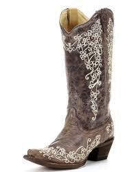 "Brown Crater Bone Embroidery Corral Boots A 1094 – Living on the Bliss ~~❤❤~~They have some really nice ""ass kickin"" boots!  And just $210.00. Excellent Quality!"