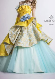 Yellow and blue frilly dress Indian Gowns Dresses, Evening Dresses, Party Wear Dresses, Prom Dresses, Nice Dresses, Girls Dresses, Long Gown Dress, Fairytale Dress, Fantasy Dress