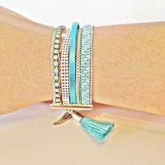 Bracelet perles miyuki turquoise mint argent chainette strass et pompon : Bracelet par lulucabane