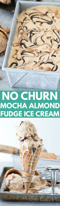 No churn mocha almond fudge ice cream! Incredibly easy coffee ice cream recipe loaded with almonds and hot fudge swirls!