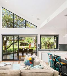 "When the current owners purchased this four-bedroom Turramurra property, they set out to make the original 1930s cottage their own. ""We achieved this by little touches here and there,"" they say. ""Like the large gable window within the vaulted ceiling and the use of Velux roof windows to channel light into the home."""