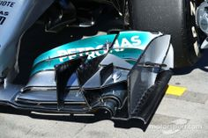 Mercedes AMG F1 W05 front wing detail.