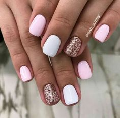 So pretty and simple Nails Now, Get Nails, Fancy Nails, Love Nails, Pink Nails, Manicure Y Pedicure, Shellac Nails, Acrylic Nails, Pedicures
