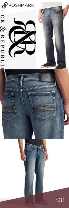Mens Designer Style Life /& Glory Dark Blue Fade Jean Straight Leg 32 waist BASI