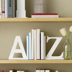 White A Z Book Ends