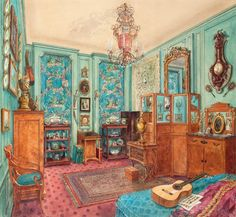 Alexandre Popov's apartment in Paris. Drawing by Alexandre Serebriakoff, 1945.